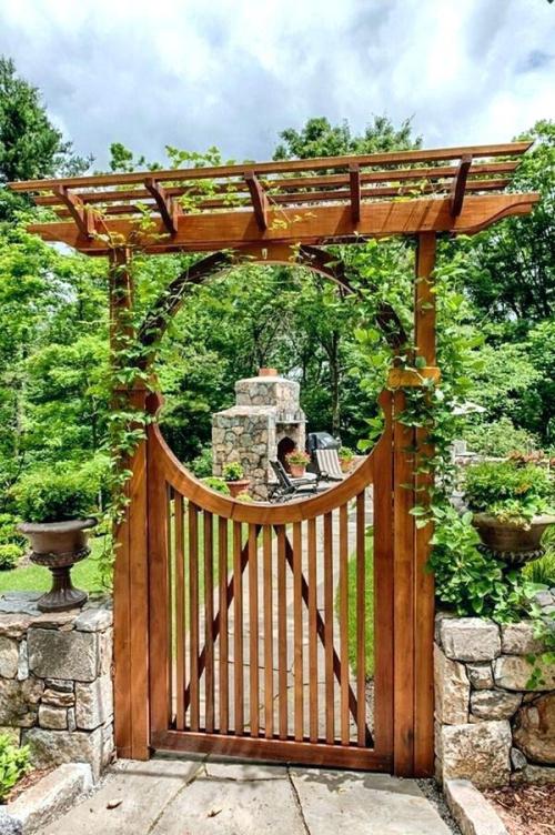 portillon jardin clôture basse en pierres