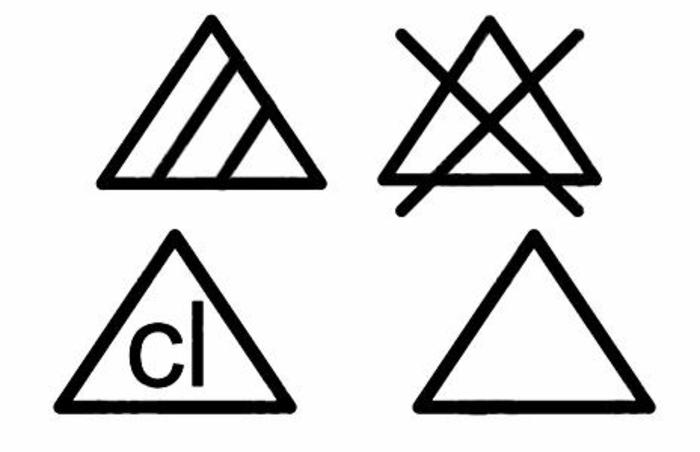 pour apprendre les symboles lavage vêtements blanchiment