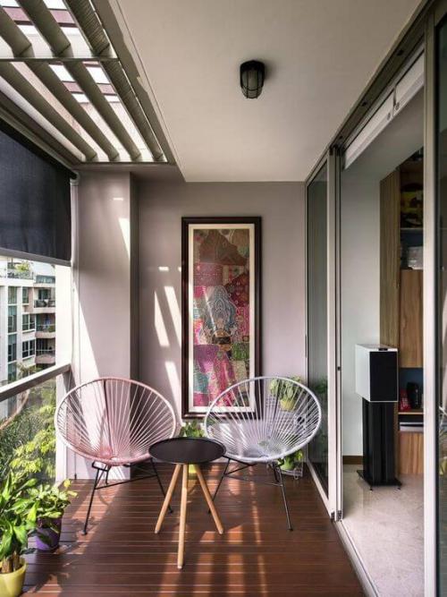 revêtement sol balcon terrasse avec store
