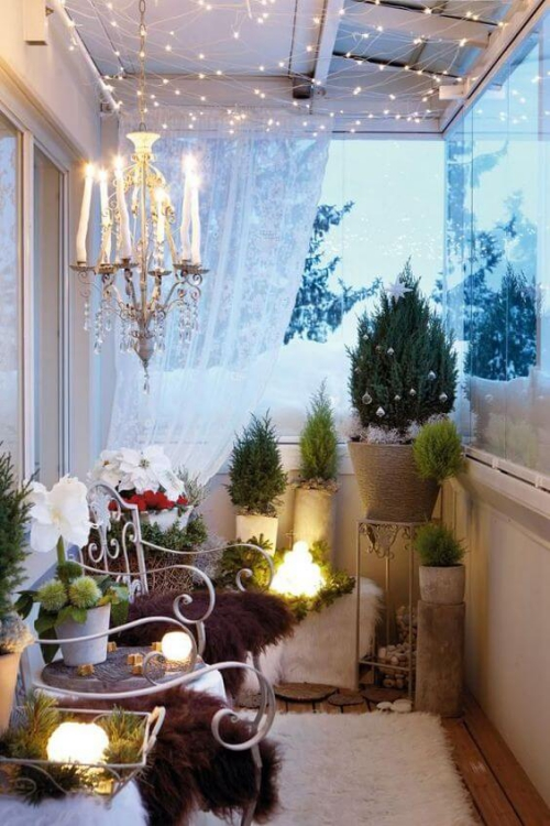 revêtement sol balcon terrasse impression hiver