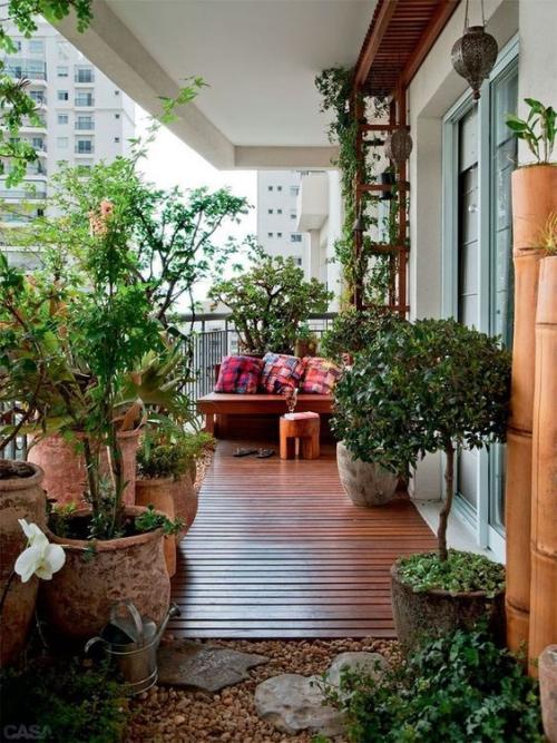 revêtement sol balcon terrasse très végétalisée
