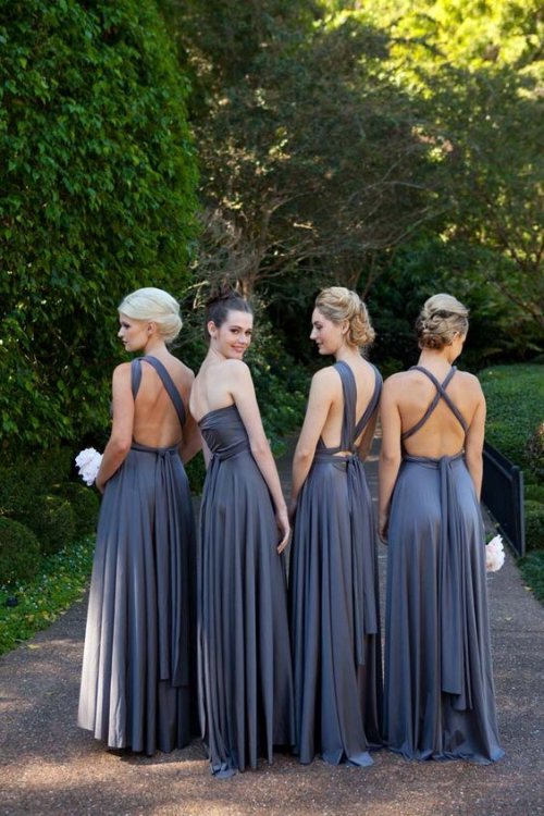 robe invitée mariage automnal robes en gris plomb