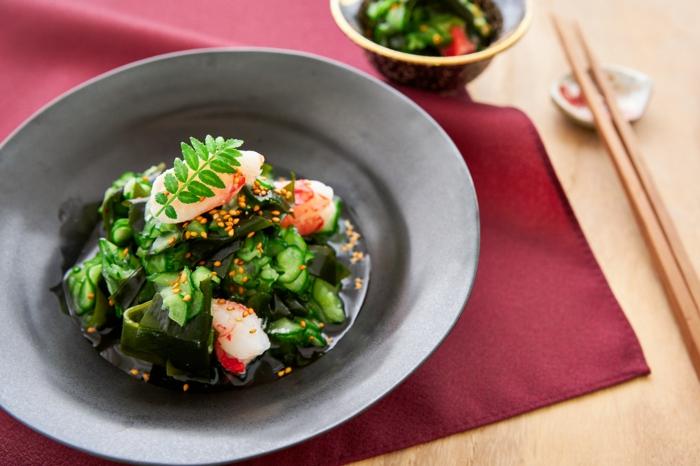 salade wakamé et crevettes