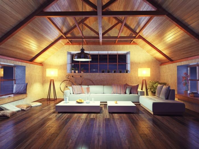 salon chaleureux plafond poutre apparente configuration complexe