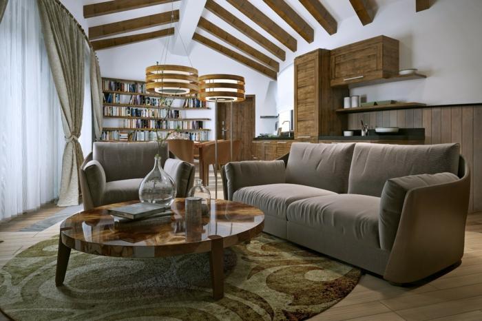 salon cosy plafond poutre apparente bois foncé