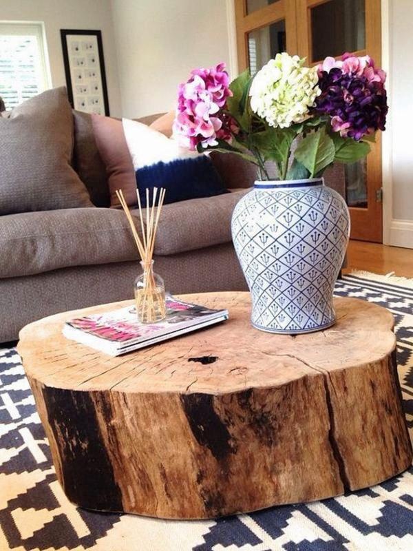 table basse tronc d'arbre de grand diamètre