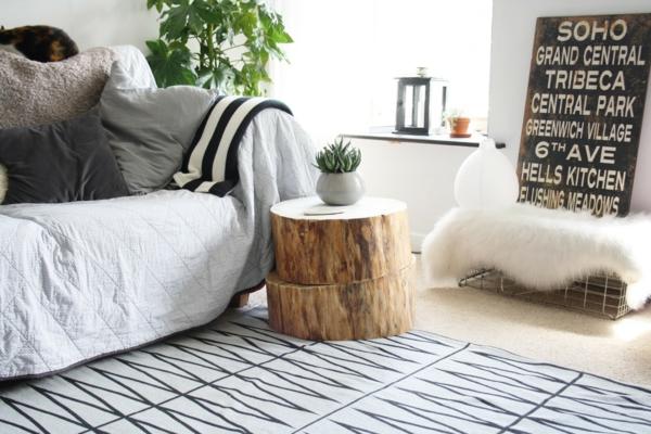 table basse tronc d'arbre deux parties superposées
