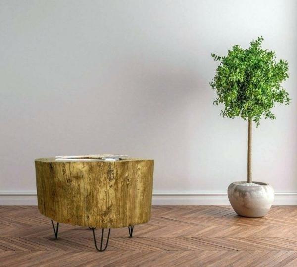 table basse tronc d'arbre finition effet doré