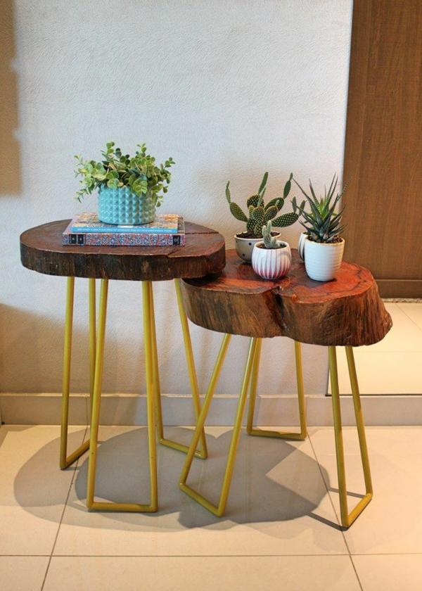 table basse tronc d'arbre pieds métalliques