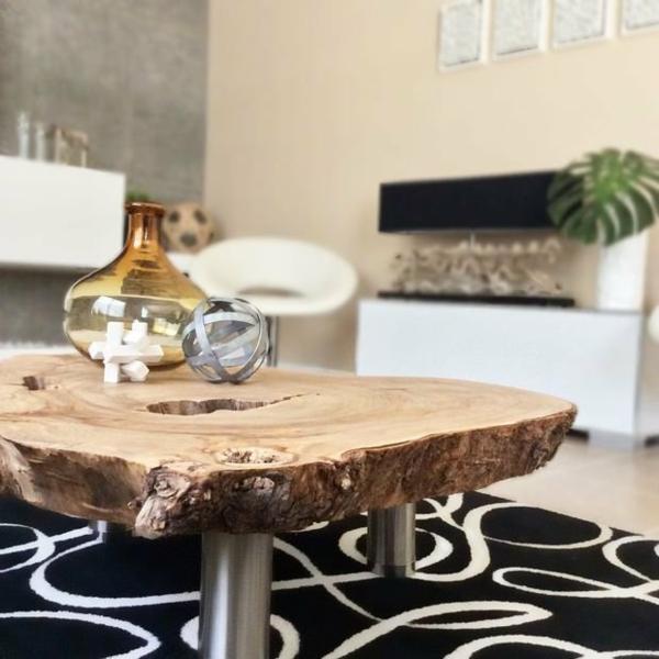 table basse tronc d'arbre salon