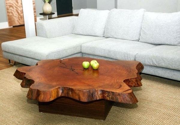 table basse tronc d'arbre support en bois
