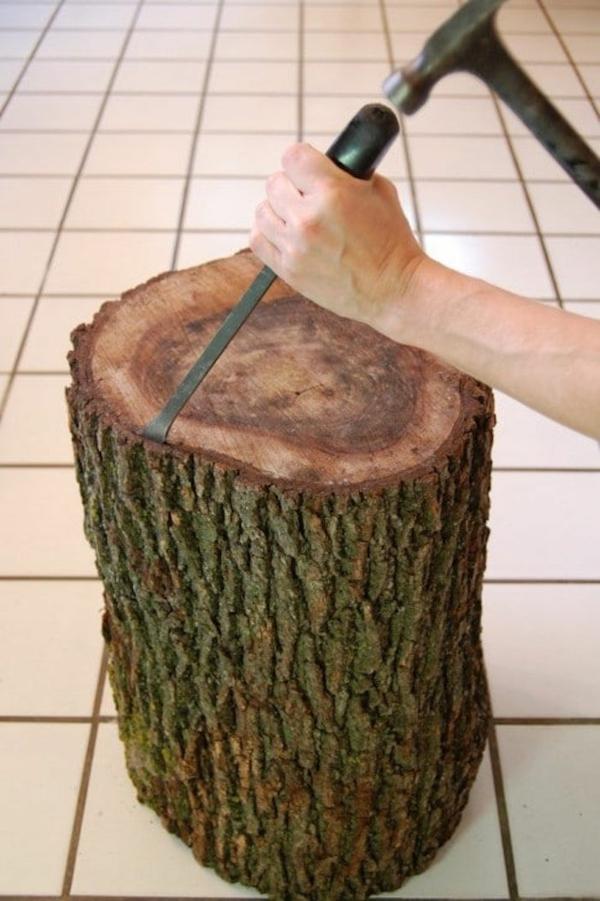 table basse tronc d'arbre supprimer écorce