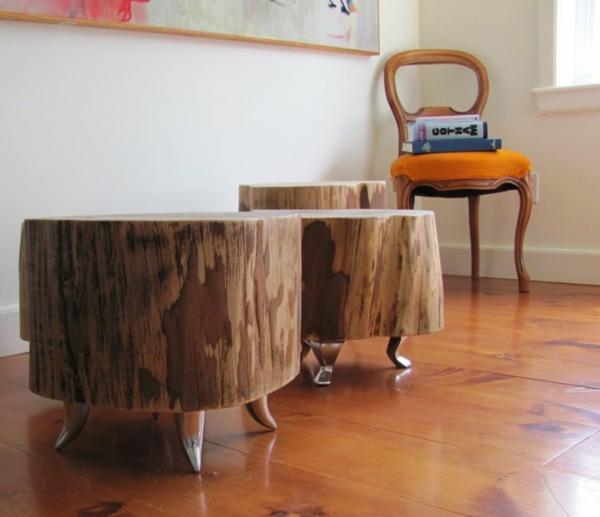 table basse tronc d'arbre sur pieds métalliques