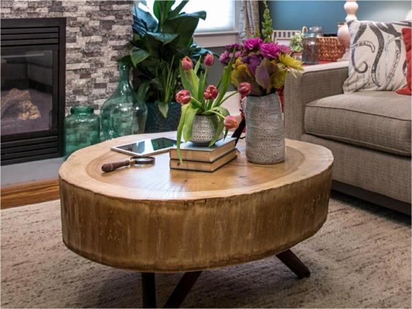 table basse tronc d'arbre teck