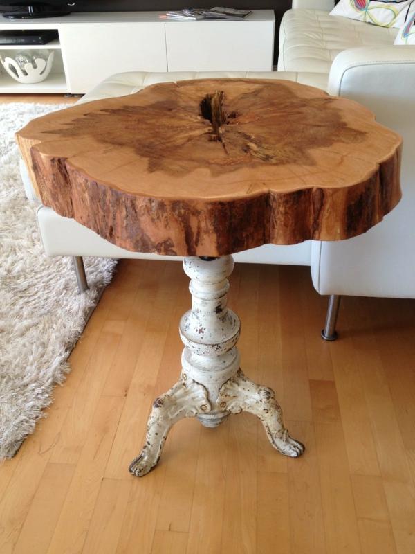 table d'appoint design table basse tronc d'arbre