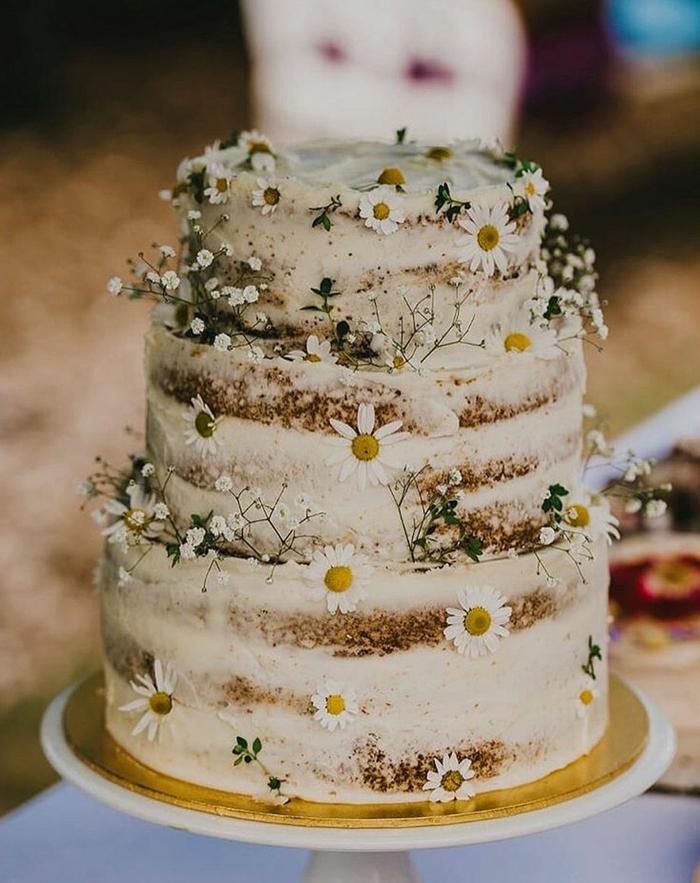 très bel gâteau anniversaire nu déco avec des fleurs