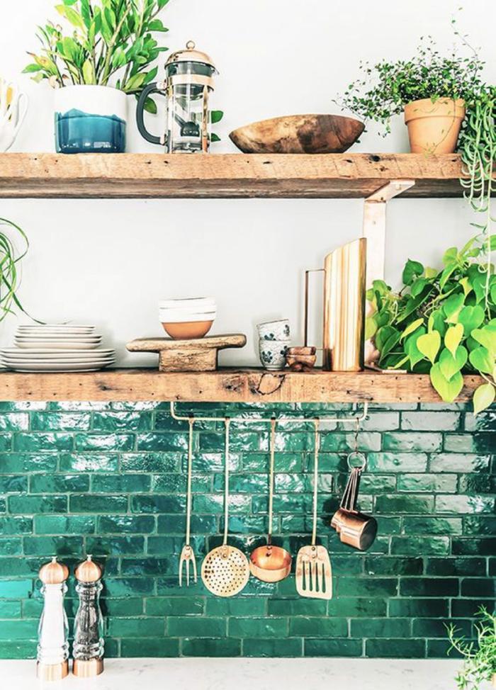 zellige couleur verte dans la cuisine