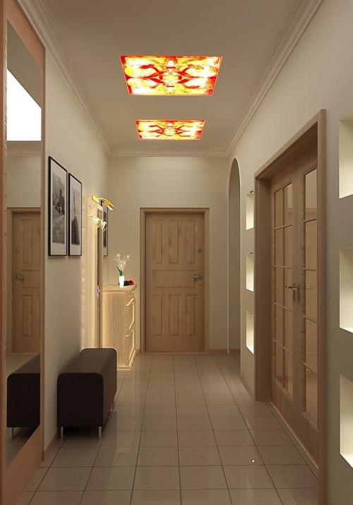éclairage couloir commode et miroir