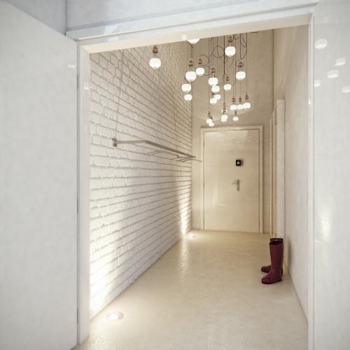 éclairage couloir tout est en blanc