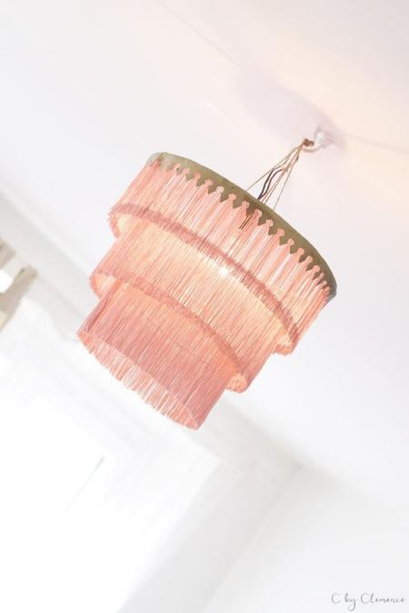 DIY chandelier lustre en rose
