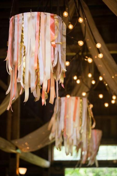 DIY chandelier lustres avec des rubans
