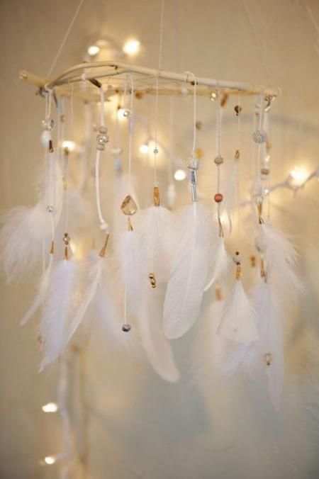 DIY chandelier plumes pour décoration