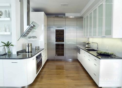 aménager une cuisine longue blanc privilégié