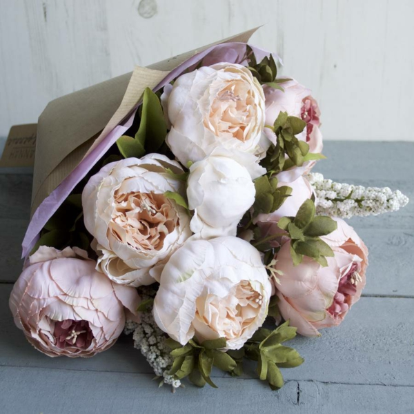 bouquet de mariée artificiel pivoines