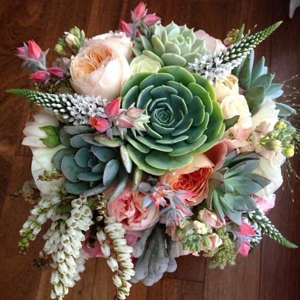 bouquet de mariée artificiel plantes succulentes