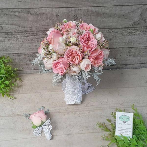bouquet de mariée artificiel roses