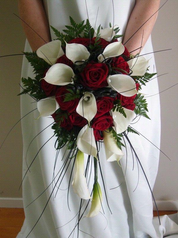 bouquet de mariée artificiel rouge et blanc