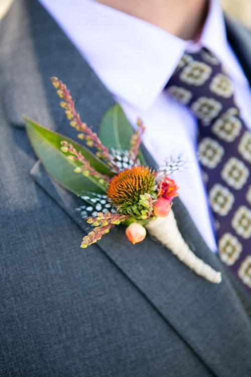 boutonnière mariage fleurs champêtres