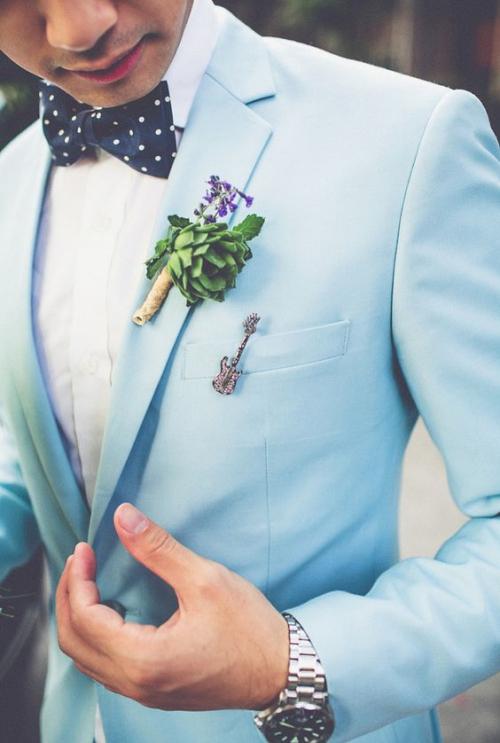 boutonnière mariage plante verte
