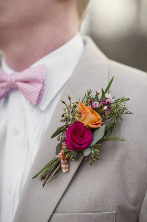 boutonnière mariage roses multicolores