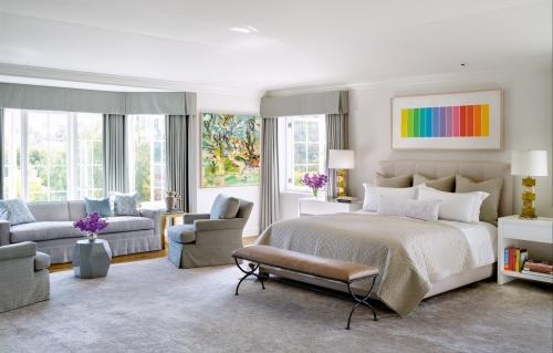 chambre bleu gris espace combiné de coin détente et pour coucher