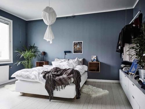 chambre bleu gris style bohème