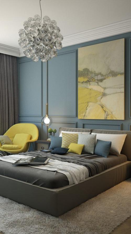 chambre bleu gris tapis moelleux