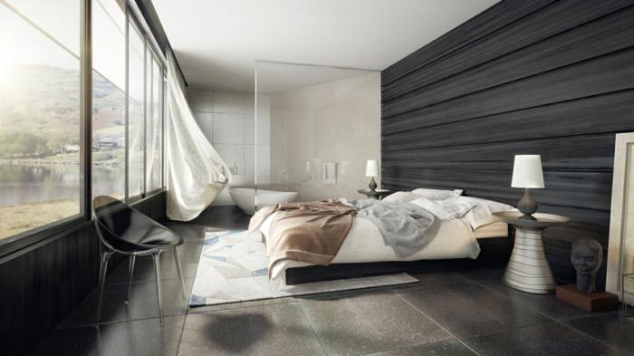 chambre moderne sol marbre noir