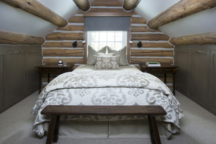 chambre plafond bas plafond poutre apparente ronde