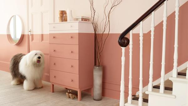 couleur couloir mur peint en deux niveaux