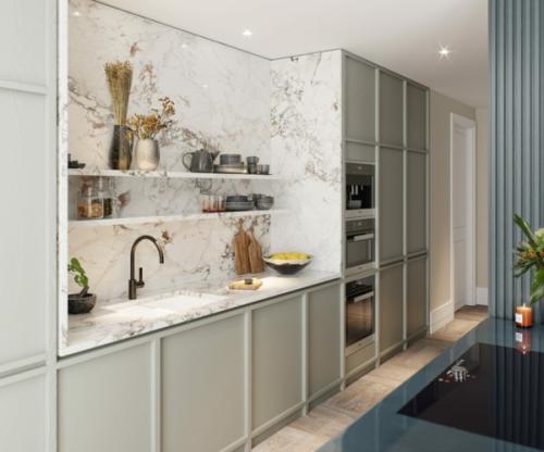 crédence marbre cuisine encastrée