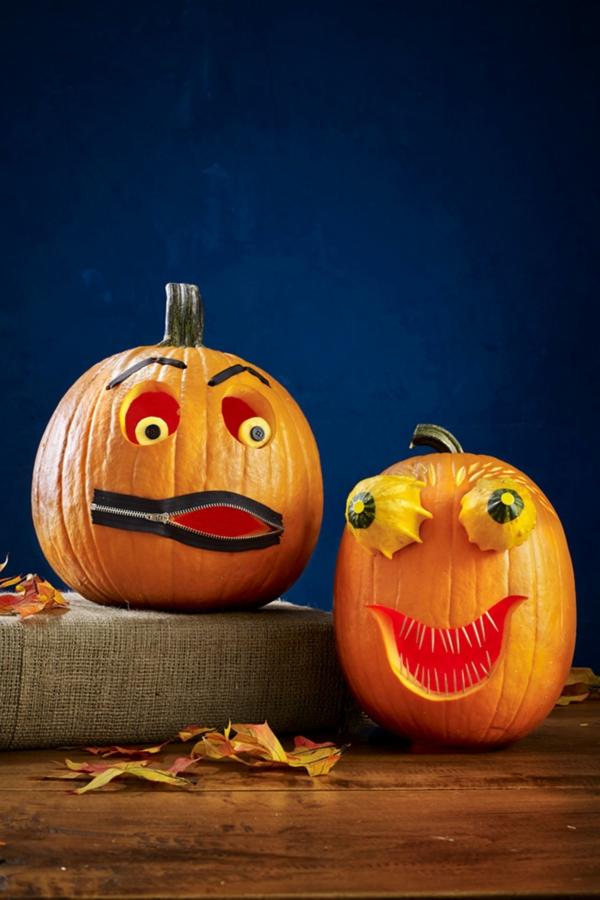creuser une citrouille pour halloween bouche zippée