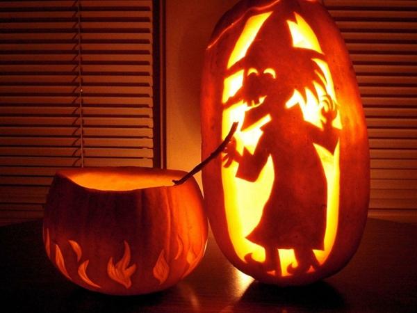 creuser une citrouille pour halloween lanterne