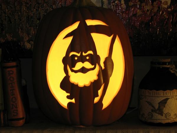 creuser une citrouille pour halloween silhouette