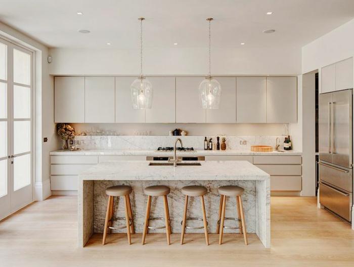 cuisine blanche moderne sol marbre