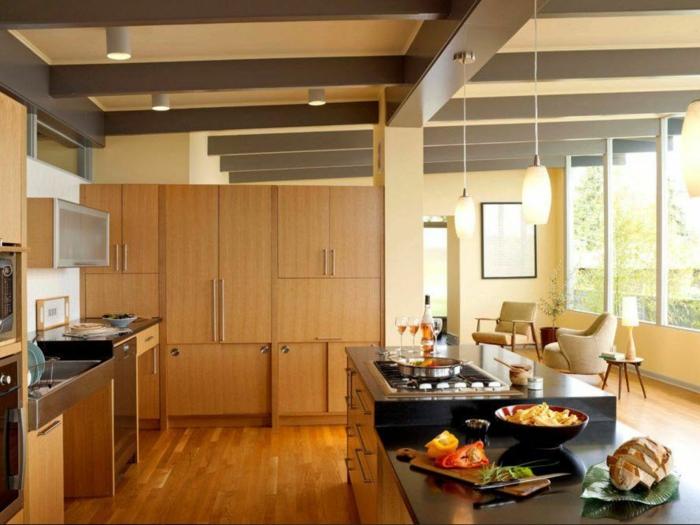 cuisine inox déco plafond poutre apparente