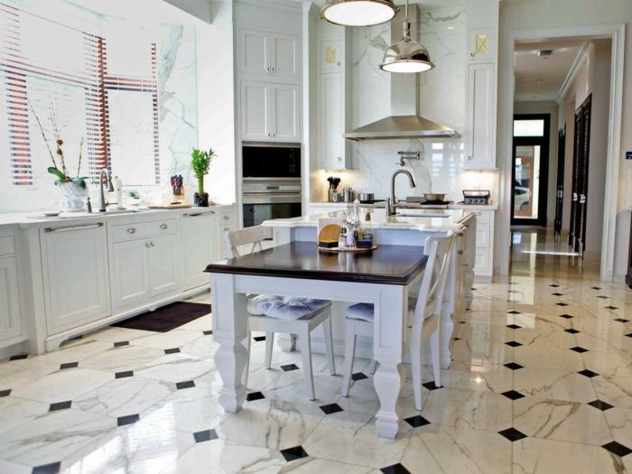 cuisine moderne suspensions industrielles sol marbre