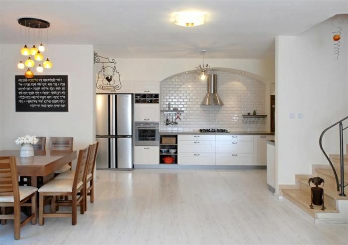 cuisine ouverte design sol marbre