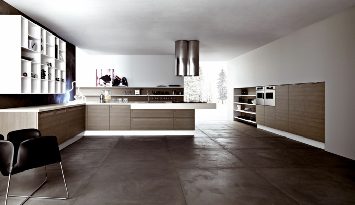 cuisine ultra moderne sol marbre
