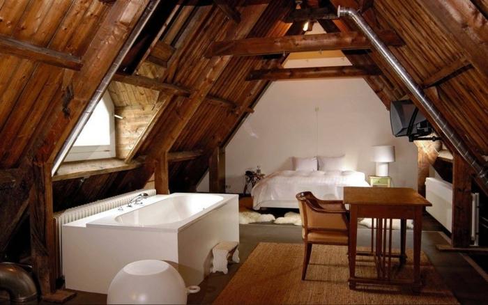 déco chambre sous combles plafond poutre apparente